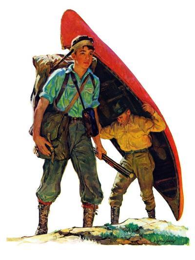 """Canoe Portage,""March 24, 1934-Eugene Iverd-Giclee Print"