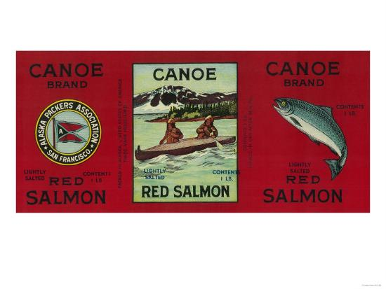 Canoe Salmon Can Label - San Francisco, CA-Lantern Press-Art Print