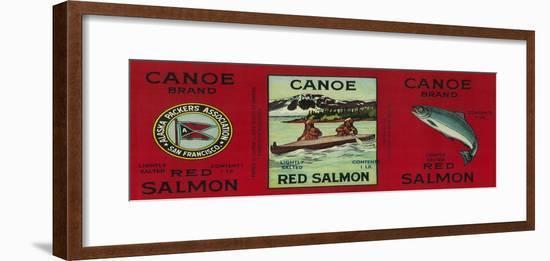 Canoe Salmon Can Label - San Francisco, CA-Lantern Press-Framed Art Print
