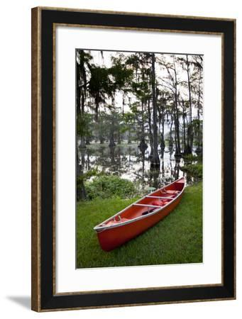 Canoe, Texas's Largest Natural Lake at Sunrise, Caddo Lake, Texas, USA-Larry Ditto-Framed Photographic Print