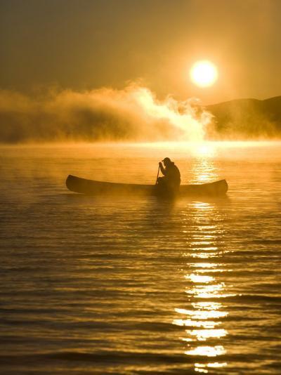 Canoeing at Sunrise, Moosehead Lake, Maine, USA-Jerry & Marcy Monkman-Photographic Print