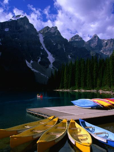 Canoeing on Moraine Lake, Banff National Park, Alberta, Canada-Lawrence Worcester-Photographic Print