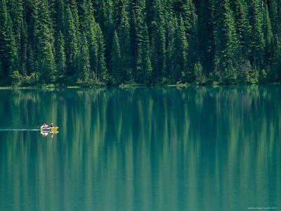 Canoeing on Still Water of Yoho National Parks Emerald Lake-Michael Melford-Photographic Print
