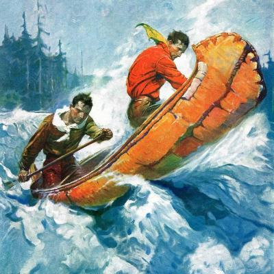 """""""Canoeing Through Rapids,""""March 1, 1930-Frank Schoonover-Giclee Print"""