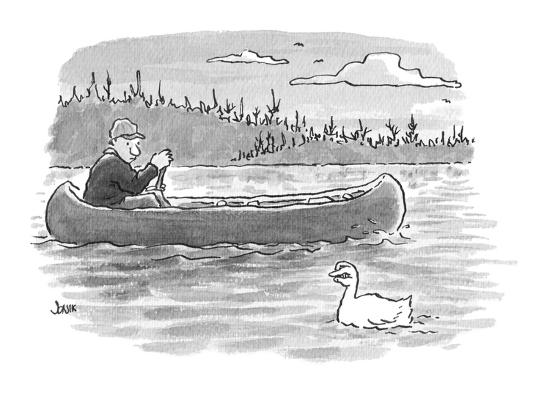 canoeist passes duck whose head is shaped like fingers?fingers held in suc? - Cartoon-John Jonik-Premium Giclee Print