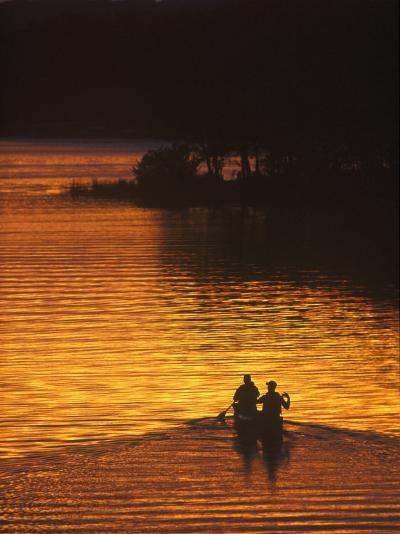 Canoers on Lake Metigoshe at Sunset, North Dakota, USA-Chuck Haney-Photographic Print
