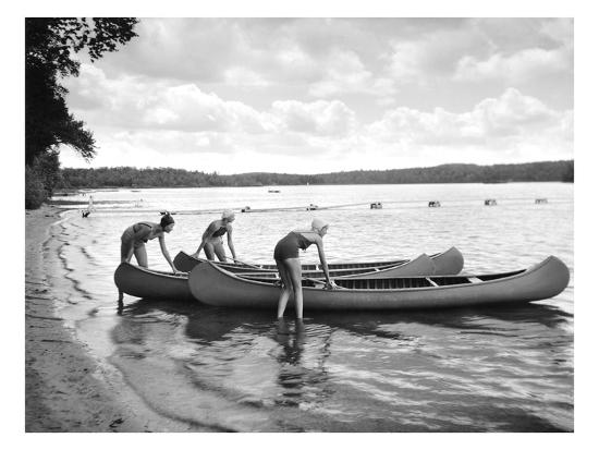 Canoers on Lake-Underwood-Giclee Print
