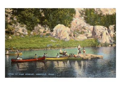 Canoes at Camp Steward, Kerrville, Texas--Art Print