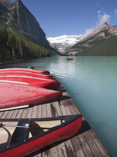 Canoes for Hire on Lake Louise, Banff National Park, UNESCO World Heritage Site, Alberta, Rocky Mou-Martin Child-Photographic Print