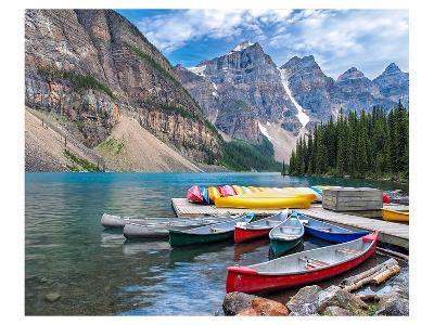 Canoes Moraine Lake Banff Park--Art Print