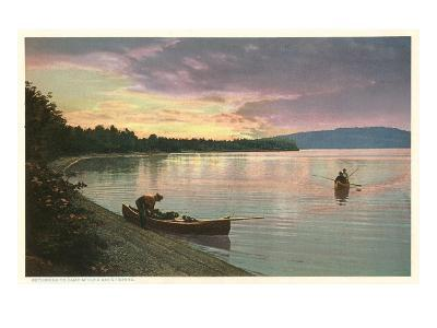 Canoing on Lake at Sunset--Art Print