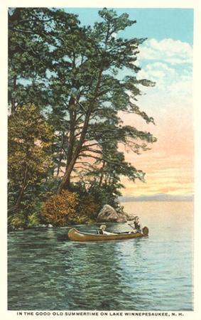 Canoing on Lake Winnipesaukee, New Hampshire