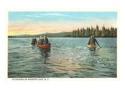 Canoing on Raquette Lake, New York--Art Print