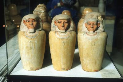 Canopic Jars, Ancient Egyptian, 26th Dynasty, 664-525 BC--Photographic Print