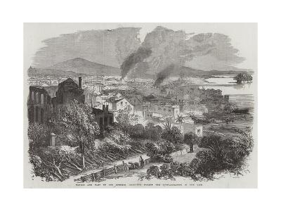 Canton and Part of the Suburbs, Sketched During the Conflagration in the City--Giclee Print