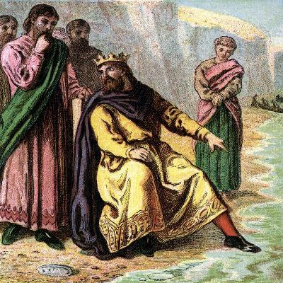 Canute and His Courtiers, 11th Century--Giclee Print