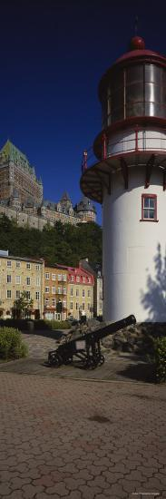 Canyon in Front of a Lighthouse, St. Lawrence River, Lower Town, Quebec City, Quebec, Canada--Photographic Print