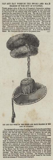 Cap and Hat Worn by the Sword and Mace Bearers of the City of Coventry--Giclee Print