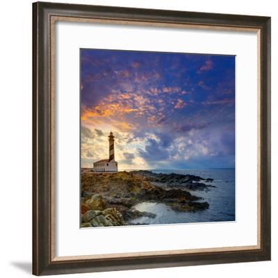 Cap De Favaritx Sunset Lighthouse Cape in Mahon at Balearic Islands of Spain-Natureworld-Framed Photographic Print