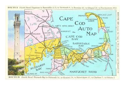 graphic about Printable Map of Cape Cod called Cape Cod Map Artwork Print by means of