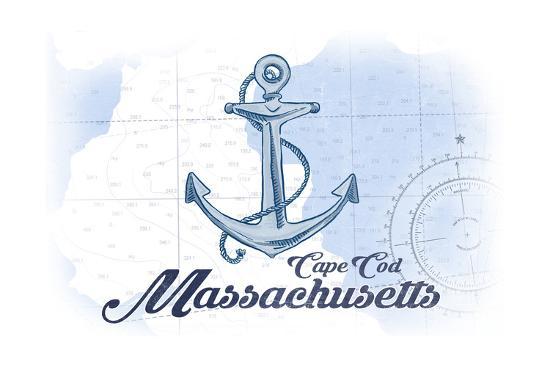 Cape Cod, Massachusetts - Anchor - Blue - Coastal Icon-Lantern Press-Art Print
