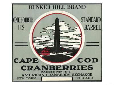 Cape Cod, Massachusetts - Bunker Hill Brand Cranberry Label-Lantern Press-Art Print