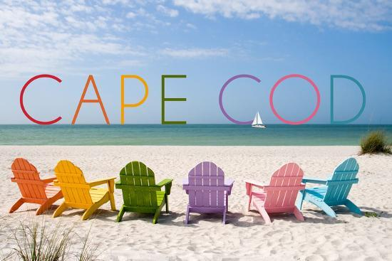 Cape Cod, Massachusetts - Colorful Beach Chairs-Lantern Press-Wall Mural
