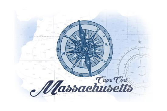 Cape Cod, Massachusetts - Compass - Blue - Coastal Icon-Lantern Press-Art Print