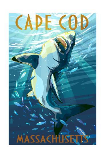 Cape Cod, Massachusetts - Great White Shark-Lantern Press-Art Print