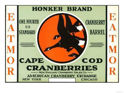 Cape Cod, Massachusetts - Honker Eatmor Cranberries Brand Label-Lantern Press-Art Print