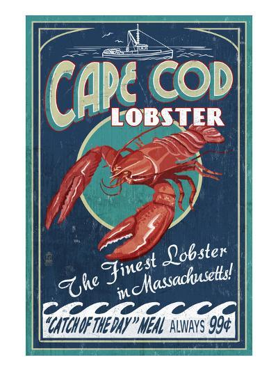 Cape Cod, Massachusetts - Lobster-Lantern Press-Art Print