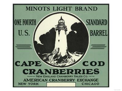 Cape Cod, Massachusetts - Minots Light Brand Cranberry Label-Lantern Press-Art Print