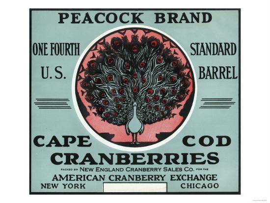 Cape Cod, Massachusetts - Peacock Brand Cranberry Label-Lantern Press-Art Print