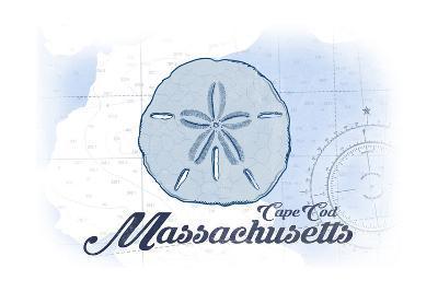 Cape Cod, Massachusetts - Sand Dollar - Blue - Coastal Icon-Lantern Press-Art Print
