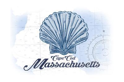 Cape Cod, Massachusetts - Scallop Shell - Blue - Coastal Icon-Lantern Press-Art Print