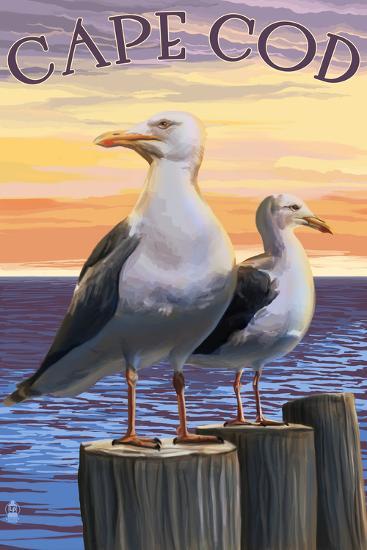 Cape Cod, Massachusetts - Seagulls-Lantern Press-Art Print