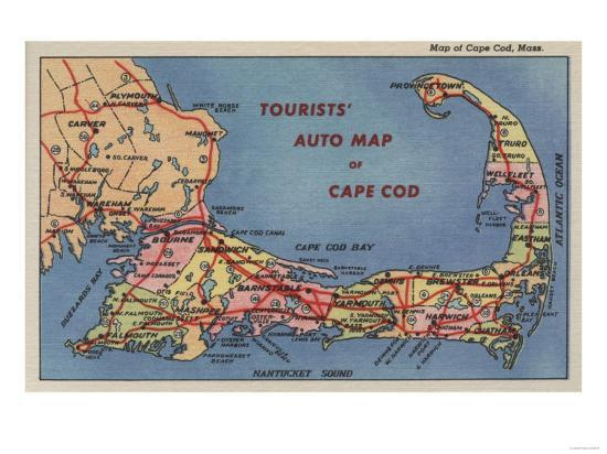 Cape Cod, Machusetts - Tourists' Auto Map of Cape Cod Art Print by Cape Code Map on area code map, cape disappointment state park campground map, geo code map, cape map map, cape cod map, cape map of the mills, canada code map, port code map, cape york peninsula map, cape hope map, cape ranges on map, cape in the us, cape on a map, cape hatteras, cape codero map,