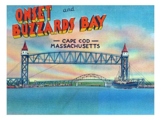 Cape Cod, Massachusetts, View of Bourne and Railroad Lift Bridges-Lantern Press-Art Print