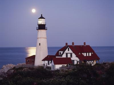 Cape Elizabeth Lighthouse with Full Moon, Portland, Maine, USA-Walter Bibikow-Photographic Print