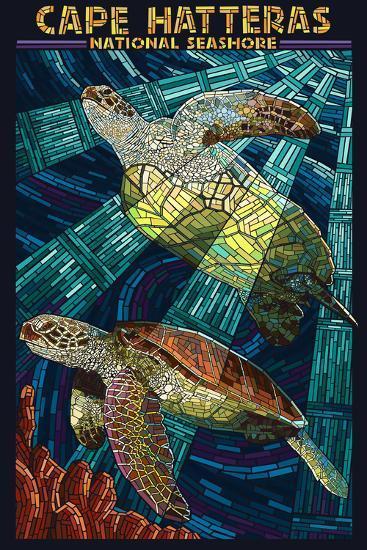 Cape Hatteras National Seashore - Sea Turtle Mosaic-Lantern Press-Wall Mural