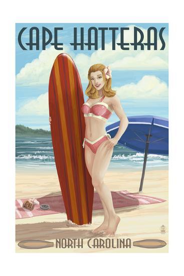 Cape Hatteras, North Carolina - Surfer Girl Pinup-Lantern Press-Art Print