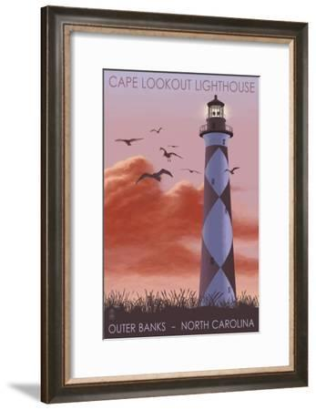 Cape Lookout Lighthouse and Sunrise - Outer Banks, North Carolina-Lantern Press-Framed Art Print
