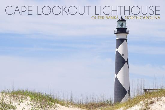 Cape Lookout Lighthouse - Outer Banks, North Carolina-Lantern Press-Art Print