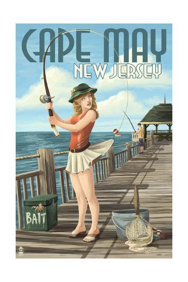 Cape May, New Jersey - Fishing Pinup Girl-Lantern Press-Art Print
