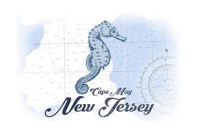 Cape May, New Jersey - Seahorse - Blue - Coastal Icon-Lantern Press-Art Print