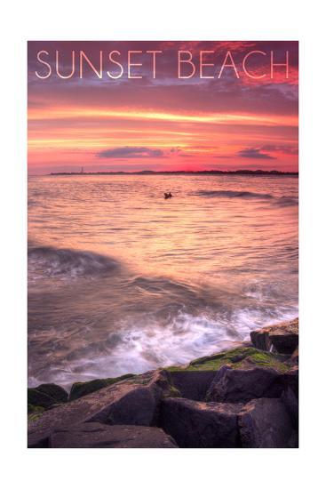 Cape May, New Jersey - Sunset Beach and Rocks-Lantern Press-Art Print