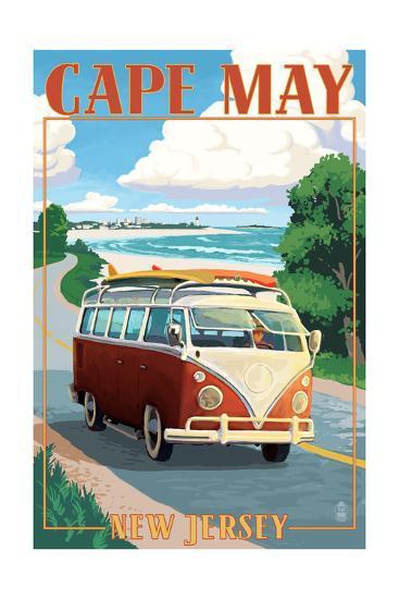 Cape May, New Jersey - VW Van Coastal Drive-Lantern Press-Art Print