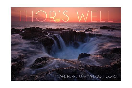 Cape Perpetua, Oregon Coast - Thors Well-Lantern Press-Art Print