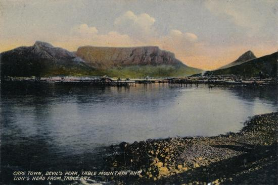 'Cape Town, Devil's Peak, Table Mountain and Lion's Head from Table Bay', c1900-Unknown-Giclee Print