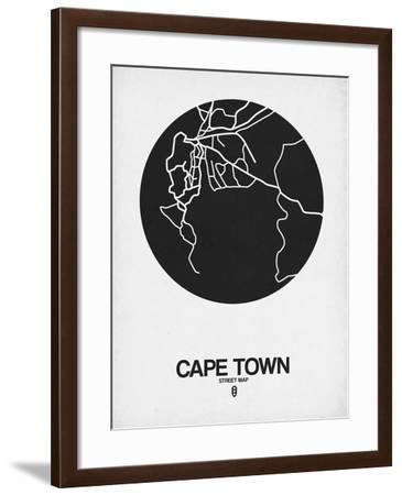 Cape Town Street Map Black on White-NaxArt-Framed Art Print